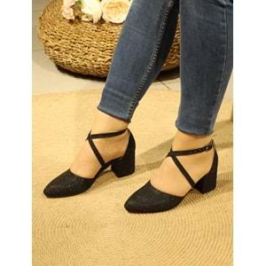 Konfores 1077 Kısa Kalın Topuklu Bayan Ayakkabı